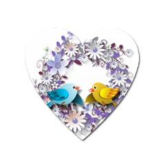Flowers Floral Flowery Spring Heart Magnet by Nexatart