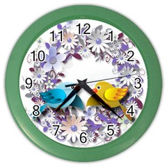 Flowers Floral Flowery Spring Color Wall Clocks by Nexatart