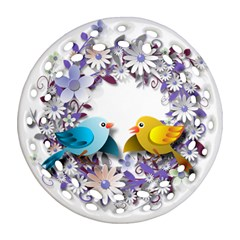 Flowers Floral Flowery Spring Round Filigree Ornament (two Sides)