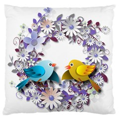 Flowers Floral Flowery Spring Large Flano Cushion Case (two Sides) by Nexatart