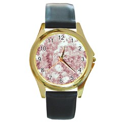 Pink Colored Flowers Round Gold Metal Watch by dflcprints