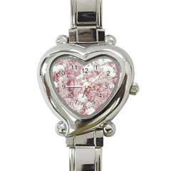 Pink Colored Flowers Heart Italian Charm Watch by dflcprints