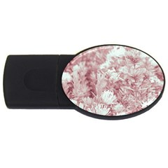 Pink Colored Flowers Usb Flash Drive Oval (4 Gb) by dflcprints