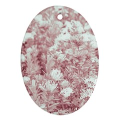 Pink Colored Flowers Oval Ornament (two Sides) by dflcprints