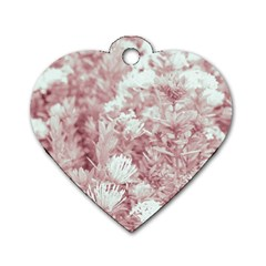 Pink Colored Flowers Dog Tag Heart (two Sides) by dflcprints