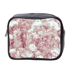 Pink Colored Flowers Mini Toiletries Bag 2 Side by dflcprints