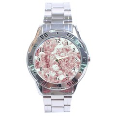 Pink Colored Flowers Stainless Steel Analogue Watch by dflcprints