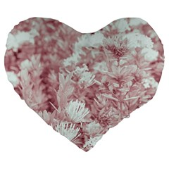 Pink Colored Flowers Large 19  Premium Flano Heart Shape Cushions by dflcprints
