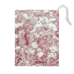 Pink Colored Flowers Drawstring Pouches (extra Large) by dflcprints