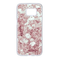 Pink Colored Flowers Samsung Galaxy S7 Edge White Seamless Case by dflcprints