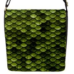 Green Mermaid Scales   Flap Messenger Bag (s) by paulaoliveiradesign
