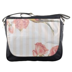Vintage Roses Floral Illustration Bird Messenger Bags by paulaoliveiradesign