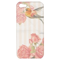 Vintage Roses Floral Illustration Bird Apple Iphone 5 Hardshell Case by paulaoliveiradesign