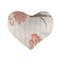 Vintage Roses Floral Illustration Bird Standard 16  Premium Flano Heart Shape Cushions by paulaoliveiradesign