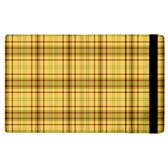 Plaid Yellow Fabric Texture Pattern Apple Ipad 3/4 Flip Case by paulaoliveiradesign
