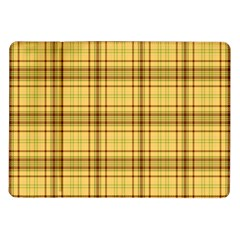 Plaid Yellow Fabric Texture Pattern Samsung Galaxy Tab 10 1  P7500 Flip Case by paulaoliveiradesign