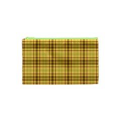 Plaid Yellow Fabric Texture Pattern Cosmetic Bag (xs) by paulaoliveiradesign