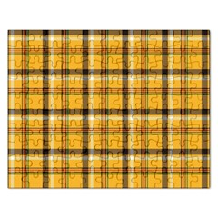 Yellow Fabric Plaided Texture Pattern Rectangular Jigsaw Puzzl by paulaoliveiradesign