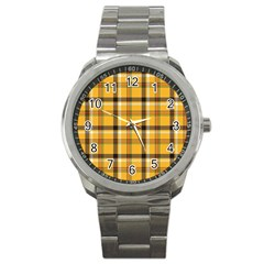 Yellow Fabric Plaided Texture Pattern Sport Metal Watch by paulaoliveiradesign