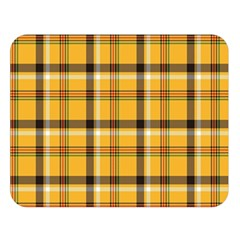 Yellow Fabric Plaided Texture Pattern Double Sided Flano Blanket (large)  by paulaoliveiradesign