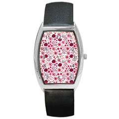 Red Floral Seamless Pattern Barrel Style Metal Watch by TastefulDesigns