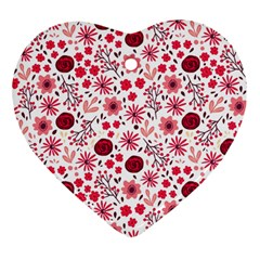 Red Floral Seamless Pattern Heart Ornament (two Sides) by TastefulDesigns