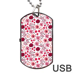 Red Floral Seamless Pattern Dog Tag Usb Flash (two Sides) by TastefulDesigns