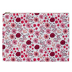 Red Floral Seamless Pattern Cosmetic Bag (xxl)  by TastefulDesigns