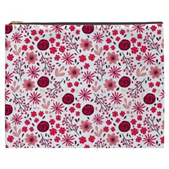 Red Floral Seamless Pattern Cosmetic Bag (xxxl)  by TastefulDesigns