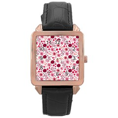 Red Floral Seamless Pattern Rose Gold Leather Watch  by TastefulDesigns