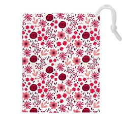 Red Floral Seamless Pattern Drawstring Pouches (xxl) by TastefulDesigns