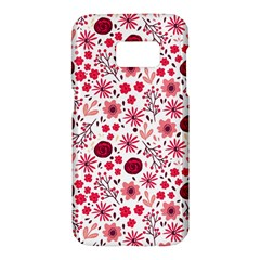 Red Floral Seamless Pattern Samsung Galaxy S7 Hardshell Case  by TastefulDesigns