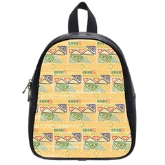 Hand Drawn Ethinc Pattern Background School Bag (small)