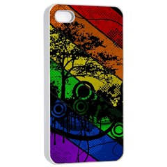 Trees Stripes Lines Rainbow  Apple Iphone 4/4s Seamless Case (white) by amphoto