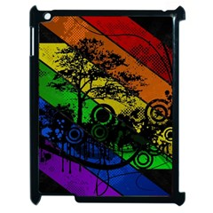 Trees Stripes Lines Rainbow  Apple Ipad 2 Case (black) by amphoto