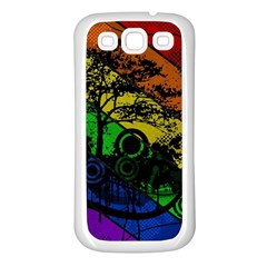 Trees Stripes Lines Rainbow  Samsung Galaxy S3 Back Case (white) by amphoto