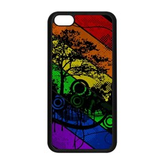 Trees Stripes Lines Rainbow  Apple Iphone 5c Seamless Case (black)