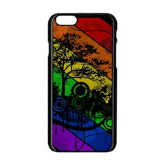 Trees Stripes Lines Rainbow  Apple Iphone 6/6s Black Enamel Case by amphoto