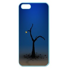 Tree Lonely Blue Orange Dark  Apple Seamless Iphone 5 Case (color) by amphoto