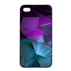 Abstract Shapes Purple Green  Apple Iphone 4/4s Seamless Case (black) by amphoto