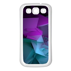 Abstract Shapes Purple Green  Samsung Galaxy S3 Back Case (white) by amphoto