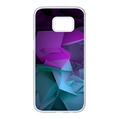 Abstract Shapes Purple Green  Samsung Galaxy S7 Edge White Seamless Case by amphoto