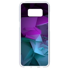 Abstract Shapes Purple Green  Samsung Galaxy S8 White Seamless Case by amphoto