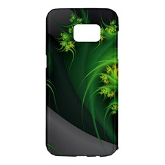 Abstraction Embrace Fractal Flowers Gray Green Plant  Samsung Galaxy S7 Edge Hardshell Case by amphoto