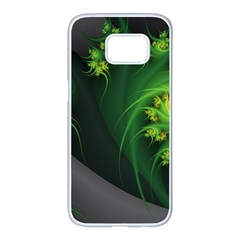 Abstraction Embrace Fractal Flowers Gray Green Plant  Samsung Galaxy S7 Edge White Seamless Case by amphoto
