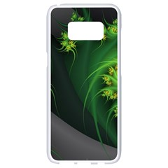 Abstraction Embrace Fractal Flowers Gray Green Plant  Samsung Galaxy S8 White Seamless Case