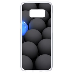 Balls Dark Neon Light Surface  Samsung Galaxy S8 White Seamless Case by amphoto