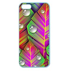 Leaves Dew Art Bright Lines Patterns  Apple Seamless Iphone 5 Case (color) by amphoto