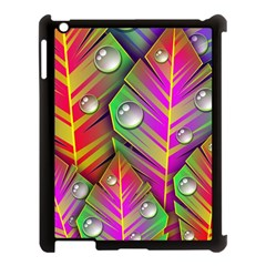 Leaves Dew Art Bright Lines Patterns  Apple Ipad 3/4 Case (black) by amphoto