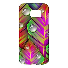 Leaves Dew Art Bright Lines Patterns  Samsung Galaxy S7 Edge Hardshell Case by amphoto